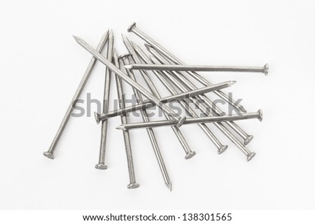 Metal nails group on white background, clipping path included