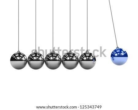 Metal Newton's cradle isolated on white background. Balancing balls Newton's cradle. 3D render. Concept business - stock photo