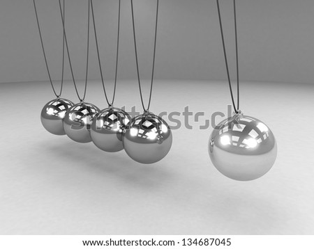 Metal Newton's cradle with one ball isolated on white background. Balancing balls Newton's cradle. 3D render. Concept business - stock photo