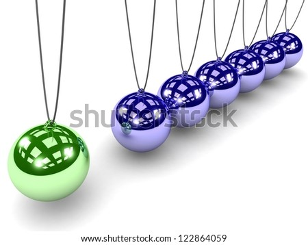 Metal Newton's cradle with one green ball isolated on white background. Balancing balls Newton's cradle. 3D render. Concept business - stock photo