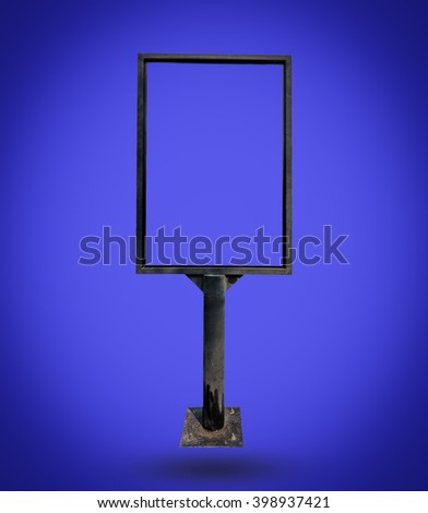 Metal notice board isolated on blue background - stock photo