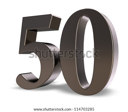 metal number fifty on white background - 3d illustration - stock photo