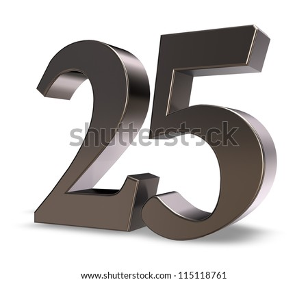 metal number twenty five on white background - 3d illustration - stock photo