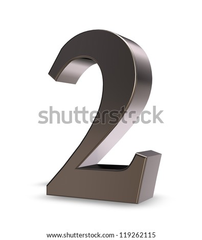 metal number two on white background - 3d illustration - stock photo