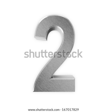 Metal Numbers isolated on white background (Number 2) - stock photo