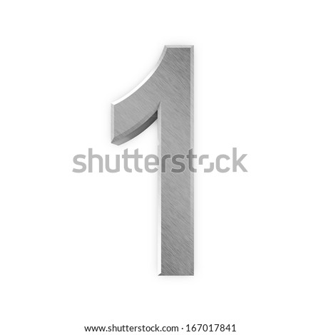 Metal Numbers isolated on white background (Number 1) - stock photo