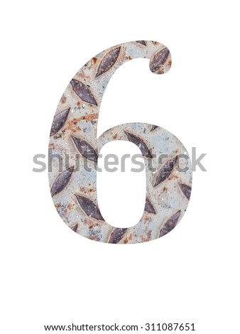 Metal numbers On a white background
