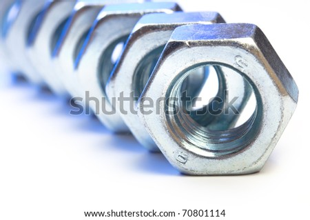 metal nut - stock photo