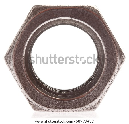 metal nut isolated on a white background - stock photo