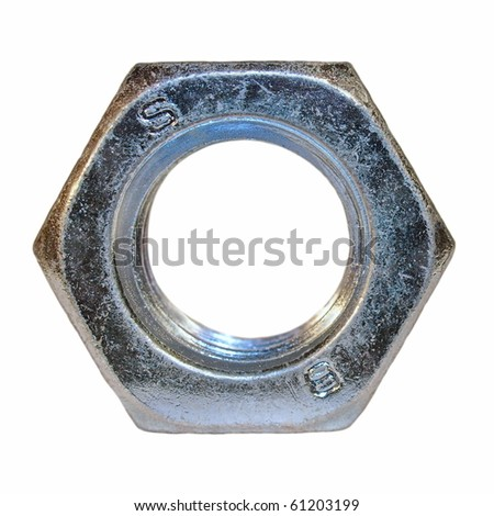 metal nut on isolated background - stock photo