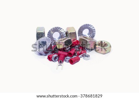 metal nuts and hardware tools - stock photo