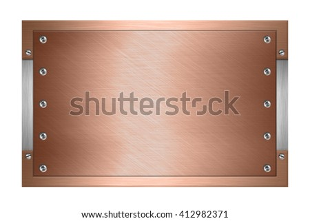 Metal of copper plate with screws isolated on white