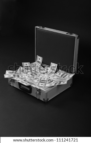 metal open suitcase with bunch of money - stock photo