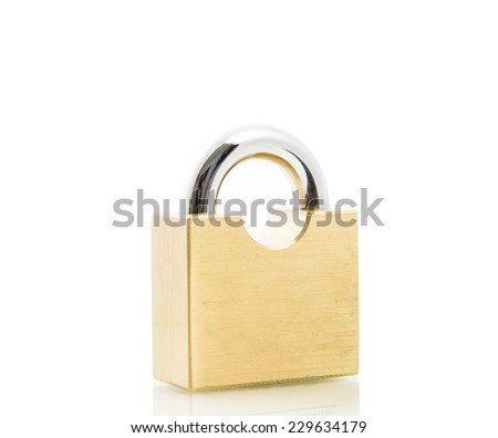 Metal padlock gold isolate on over white background