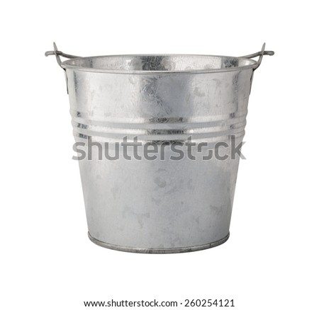 Metal Pail with a clipping path, isolated on white. The image is in full focus, front to back. - stock photo