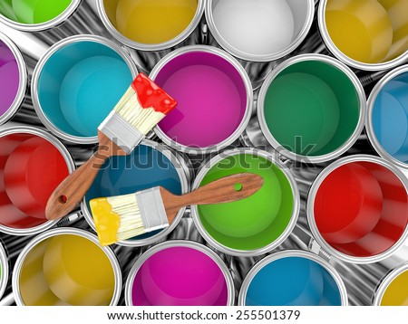 metal paint cans with colorful paint and paintbrush, painting concept. 3d illustration - stock photo