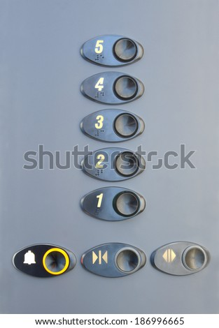 Metal panel in the elevator with Arabic numerals and inscriptions in Braille - stock photo