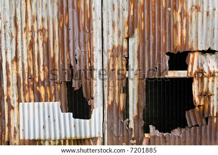 Metal Paneling with Screws Very Rusted and Dented, Texture Background, Horizontal - stock photo