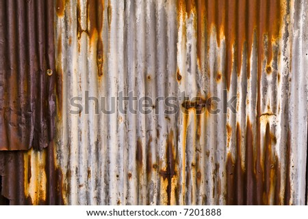 Metal Paneling with Screws Very Rusted and Dented Variation 2, Texture Background, Horizontal - stock photo