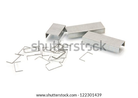 Metal paper clip. Isolated on a white background - stock photo