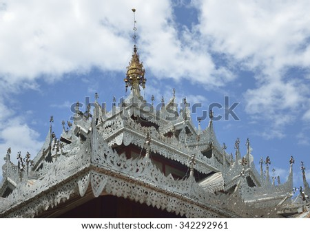 Metal pattern craft roof details in the temple in Mae Hong Son,  Thailand - stock photo