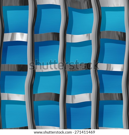 Metal pattern resembling a steel bars on a blue background - stock photo