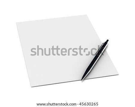 Metal pen on a blank sheet of paper isolated on white background. High quality 3d render. - stock photo