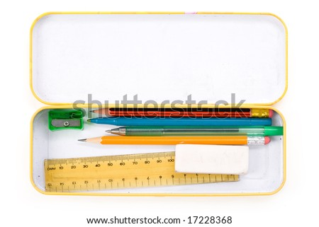 Metal pencil case with white background - stock photo