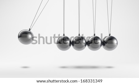 Metal pendulum with five stationary and a moving spheres - stock photo