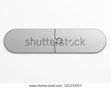 metal pieces of puzzle to place concepts with clipping path - stock photo