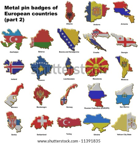 Metal pin badges in the shape of flag maps of all the non member countries of the european union - stock photo