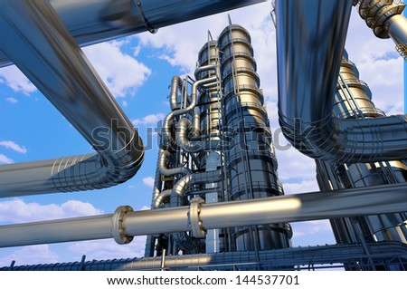 Metal pipe plant against the sky. - stock photo