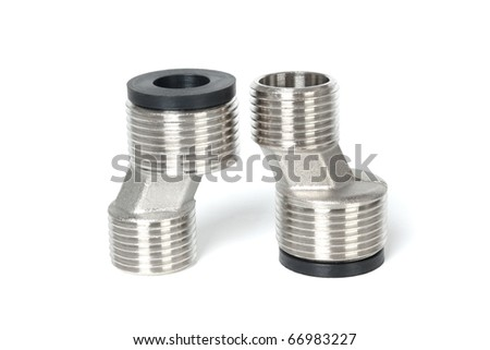 Metal pipe with a threaded isolated on white background