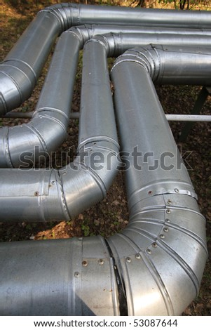 Metal pipes are bent