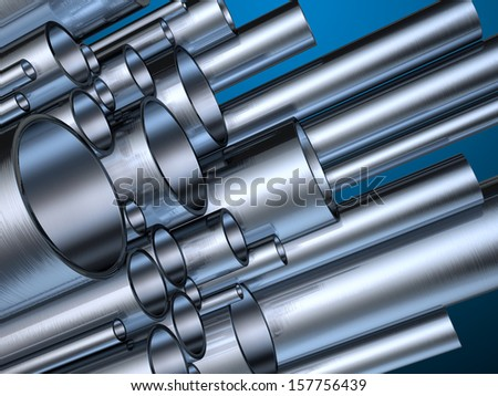 Metal pipes in different sizes. Digital illustration with clipping path included. - stock photo