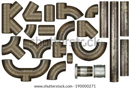 Metal pipes, isolated - stock photo