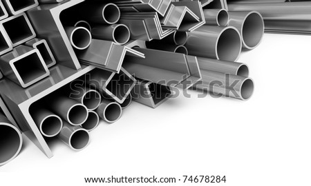 metal pipes on white background - stock photo