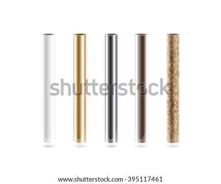 Metal pipes set isolated on white. Shiny metallic cylinder pipe, silver, grey, golden, chrome, steel, rusty. Gold pole design. Glossy color stick gradient graphic design. Rust column tube with hole. - stock photo