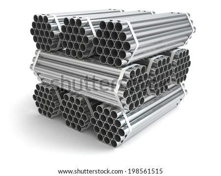 Metal pipes. Steel industry . Three-dimensional image, 3d - stock photo