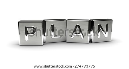 Metal Plan Text (isolated on white background) - stock photo