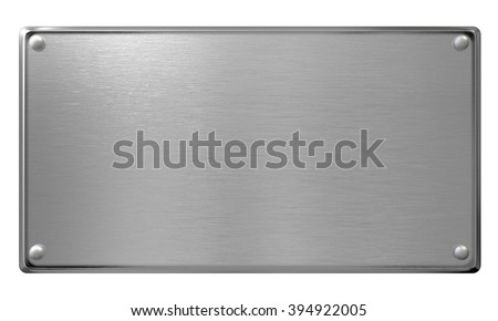 metal plaque or plate isolated
