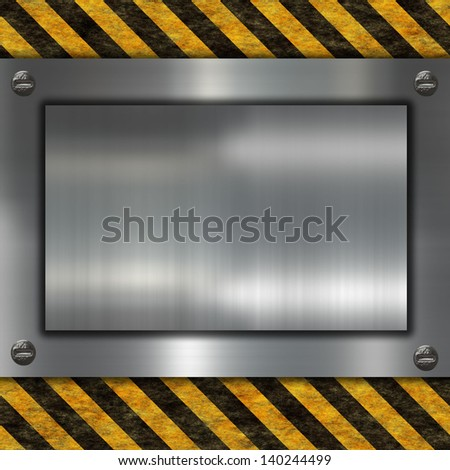 metal plate and warning sign - stock photo