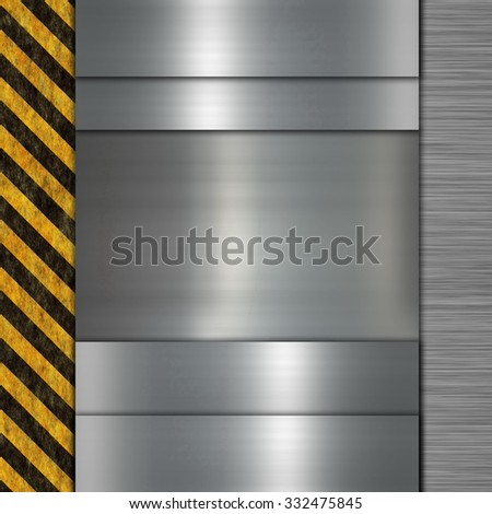 metal plate and warning stripes - stock photo
