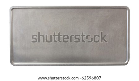 metal plate - back of license plate - brushed metal - no holes - stock photo