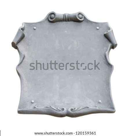 Metal plate background with space for text, isolated on white background - stock photo