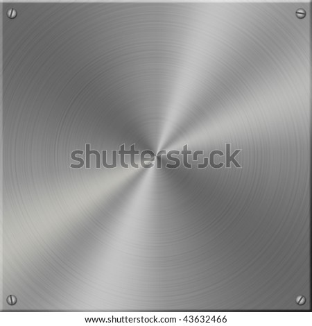 Metal plate, brushed in circles, with screws. - stock photo