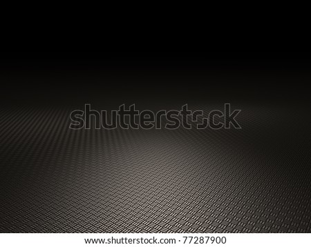 Metal plate floor texture lit by spot lights. Dark moody background - great for a product stage - stock photo