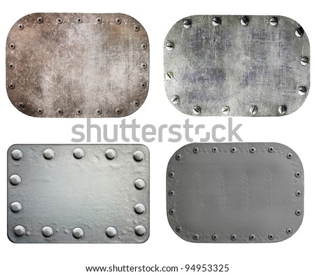 Metal plate isolated on white background, set - stock photo