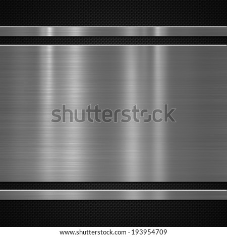 Metal plate on carbon fibre background or texture - stock photo