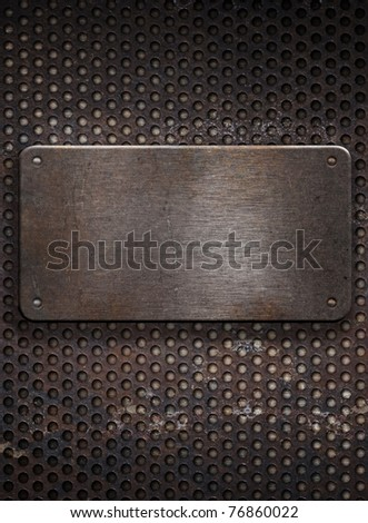 metal plate on  grid background